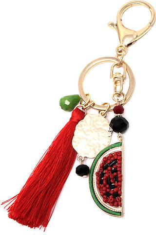 Beaded Watermelon Tassel Keychain