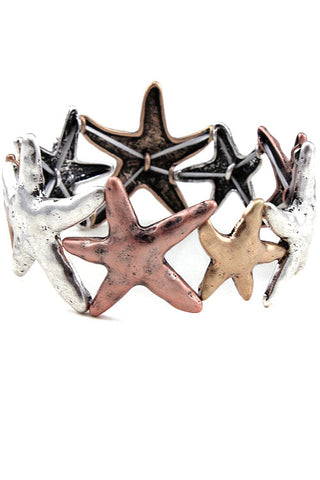 Starfish Mix Metal Stretch Bracelet