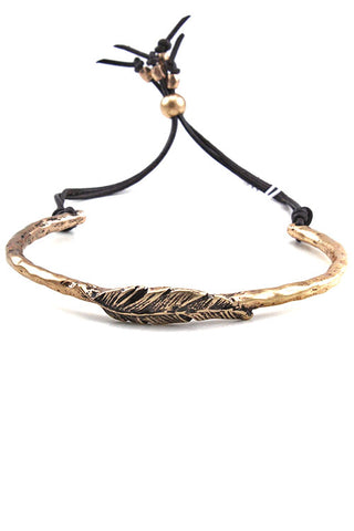 Metal Feather Drawstring Adjustable Bracelet