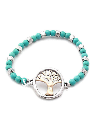 Metal Seeds Tree Stretch Bracelet