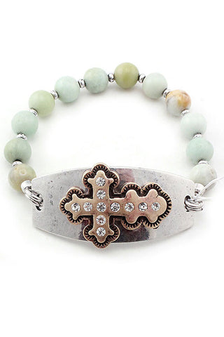 Cross Metal Plate Bracelet
