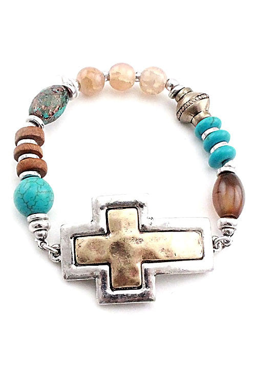 Multi Bead Cross Metal Bracelet