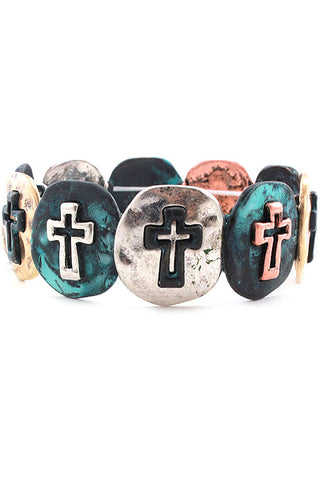 Cross Metal Stretch Bracelet