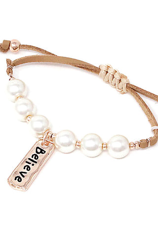 Pearl Pendant Adjustable Bracelet
