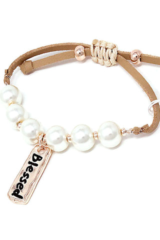Blessed Engraved Pearls Bracelet