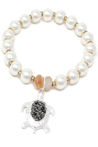 Pearl Turtle Cross Stretchable Bracelet
