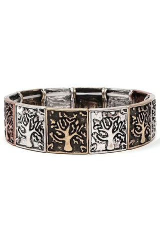Tree Texture Mix Metal Stretch Bracelet