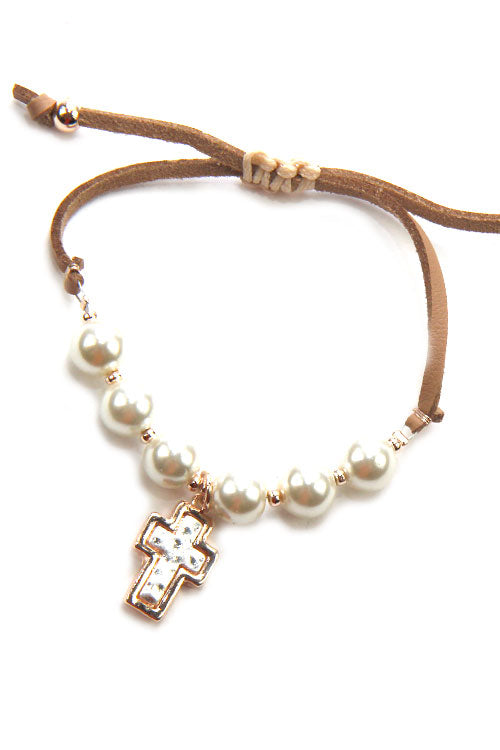 (6PCS) Cross Pearl Adjustable Bracelet