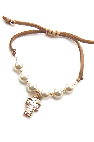 Cross Pearl Adjustable Bracelet