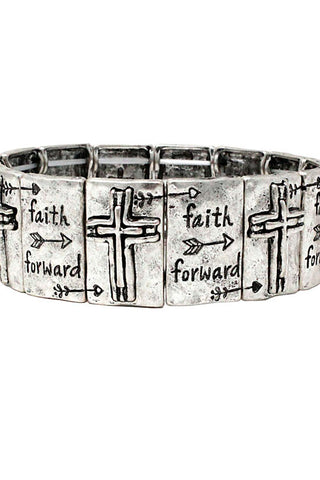 Metal Lettering Stretch Bracelet