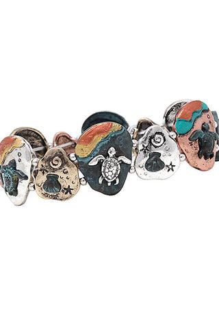 Sea Life Mix Metal Stretchable Bracelet