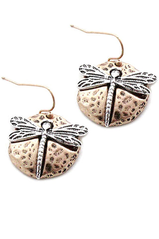 Dragonfly Metal Hook Earrings
