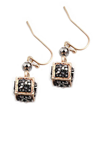 Cube Metal Hook Earrings
