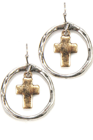 Cross Metal Hook Earrings