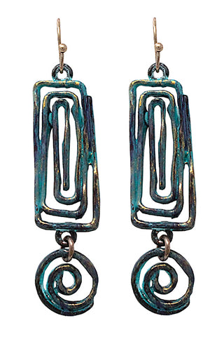 Mix Metal Drop Hook Earrings