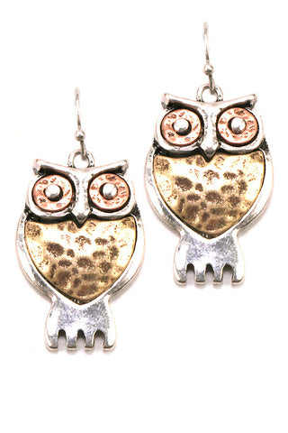 Metal Owl Drop Hook Earrings