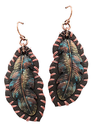 Mix Metal Feather Design Earrings
