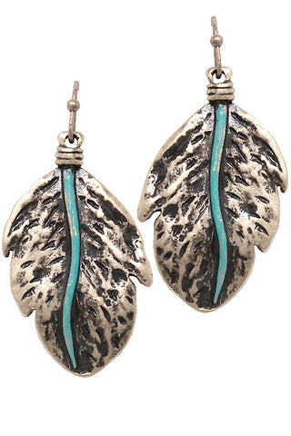 Mix Metal Feather Drop Hook Earrings