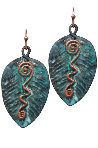 Mix Metal Leaf Drop Hook Earrings