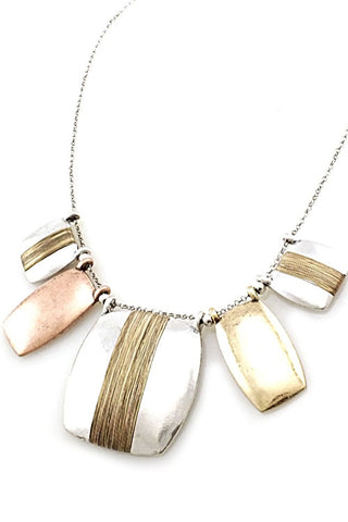 Mix Metal Pendant Necklace Set