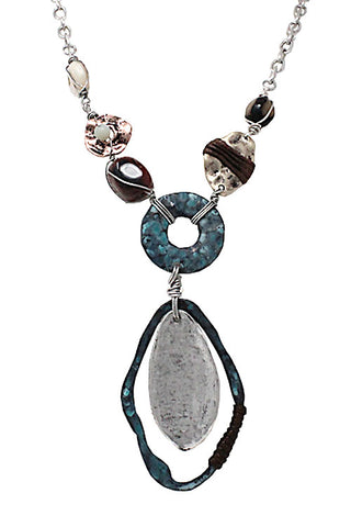 Mixed Metal Stone Necklace Set