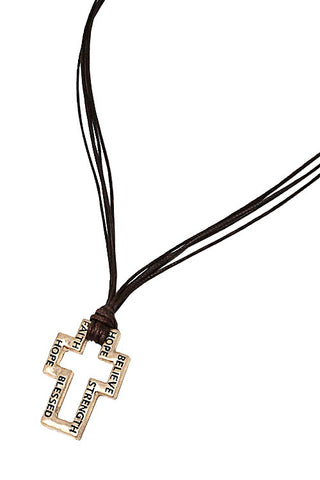 Metal Cross Pendant Necklace Set