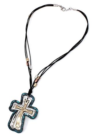(2PCS) Cross Pendant Necklace Set