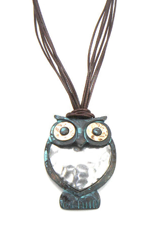 Mix Metal Owl Pendant Necklace Set