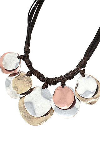 Mix Metal Layered Plate Necklace Set