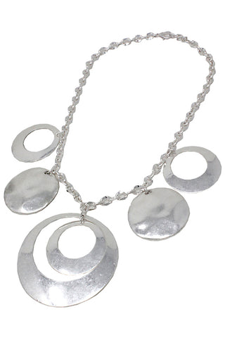 Mix Metal Metal Circle Necklace Set