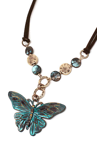 Mix Metal Butterfly Pendant Necklace Set