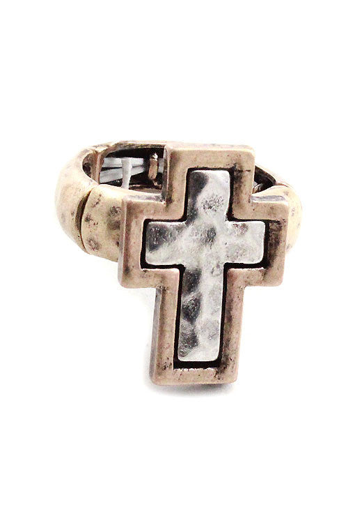Cross Hammered Metal Ring