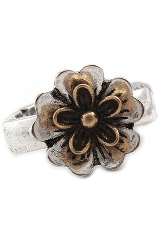 Nature Flower Stretch Metal Ring