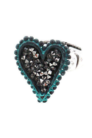 Stoned heart shape Mix Metal Ring