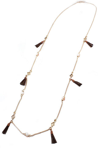 (6PCS) Beads and Tassels Necklace Set