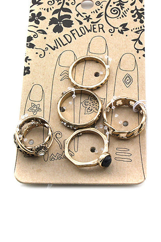 (3PCS) Five Pieces Multi Metal Ring Set
