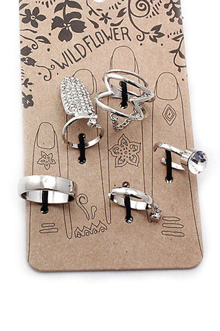 (3pcs) Multi Midi Crystal Ring Set