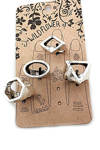 (3pcs) Multi Shapes Ring Set