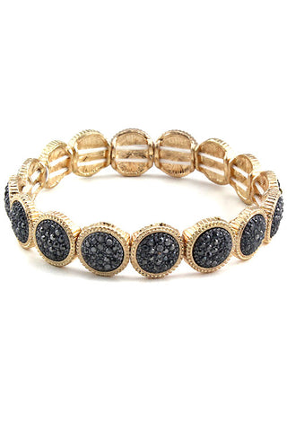 (3PCS) Stone W Metal Stretch Bracelet
