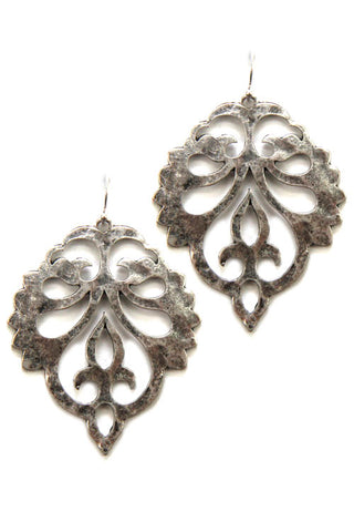 Metal Leaf Drop Hook Earrings