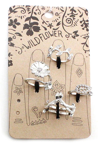 Metal Flower Multi Ring Set