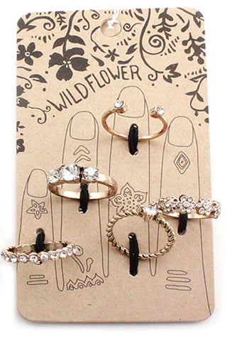 Metal Rhinestone Multi Ring Set