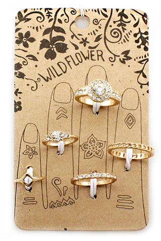 Metal Stone Multi Ring Set