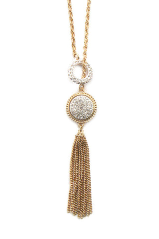 Crystal Studded Coin Pendant Necklace