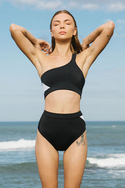 BYRON ONE SHOULDER BIKINI TOP black/white
