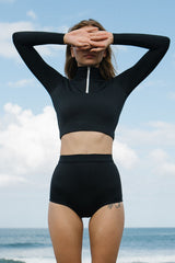 STORM HIGH WAIST BIKINI BOTTOM - black