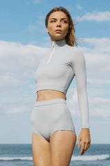 STORM HIGH NECK LONGSLEEVE CROP TOP - cloud