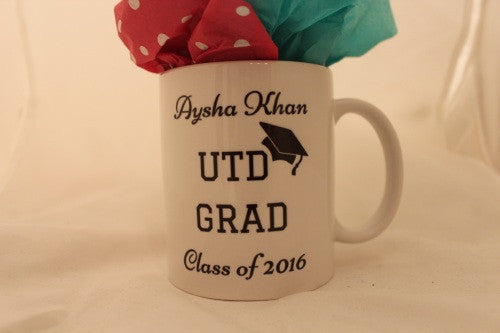 Customized and personalized 11 oz coffee mug perfect gifts such as graduation, wedding, businesses, etc
