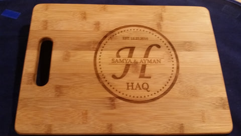 Personalized Bamboo Cutting Board 14x9.5
