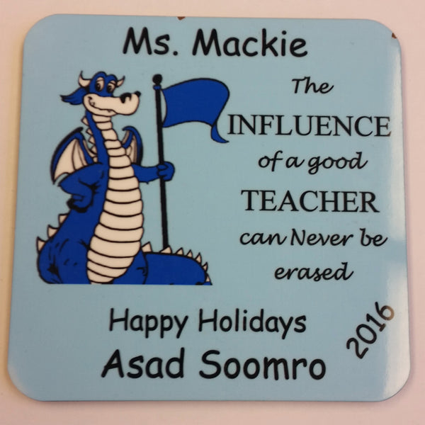 Coaster with school Mascot and Personalized.  PTA Fundraiser, Teacher Gift